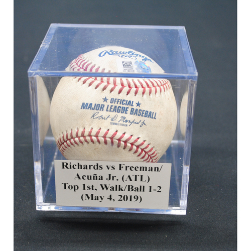 Photo of Game-Used Baseball: Trevor Richards vs Freddie Freeman/Ronald Acuña Jr. (ATL), Top 1st, Walk/Ball 1-2 - May 4, 2019