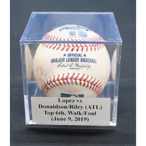Photo of Game-Used Baseball: Pablo Lopez vs Josh Donaldson/Austin Riley (ATL), Top 6th, Walk/Foul - June 9, 2019