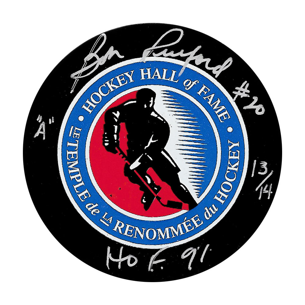 Bob Pulford Autographed Hockey Hall of Fame Puck w/HOF 91 Inscription
