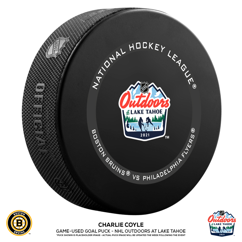 Charlie Coyle Boston Bruins Game-Used Goal Puck from the NHL Outdoors at Lake Tahoe on February 21, 2021 vs. Philadelphia Flyers