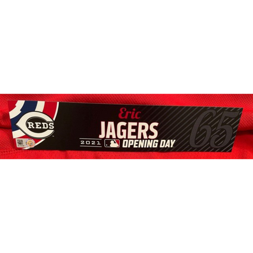 Photo of Eric Jagers -- 2021 Opening Day Locker Tag -- Game-Used -- Cardinals vs. Reds on 4/1/21