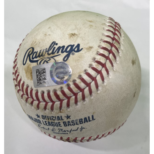 Photo of Game-Used Baseball - Francisco Lindor Single and Carlos Santana Walk 8-11-2020