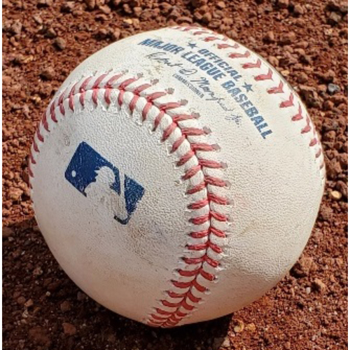 Photo of 2021 Phillies Game-Used Baseball - Bryce Harper 2-Run Double - STL at PHI - 4/16/2021