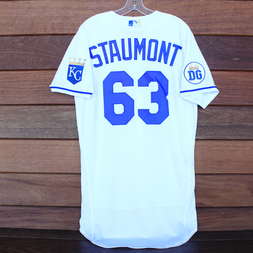 Photo of Game-Used 2020 Los Reales Jersey: Josh Staumont #63 (PIT @ KC 9/12/20) - Size 42