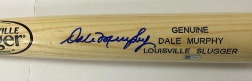 Dale Murphy Autographed Blonde Louisville Slugger Name Engraved Bat