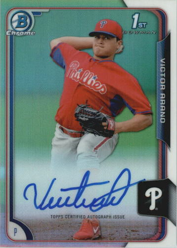 Photo of 2015 Bowman Chrome Prospect Autographs Refractors #BCAPVA Victor Arano