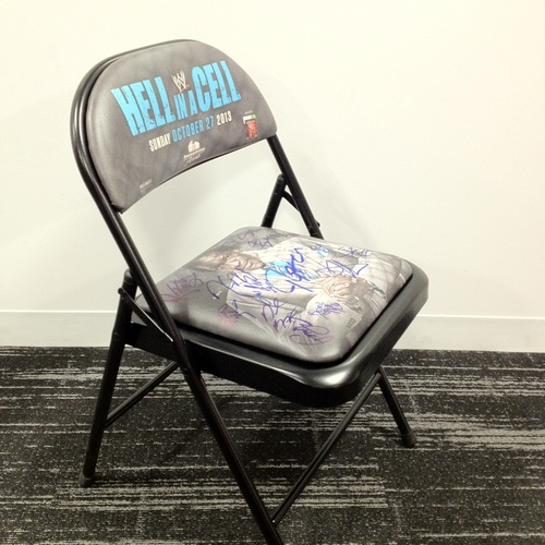 AUTOGRAPHED Hell In A Cell 2013 Event Chair (signed by multiple superstars)