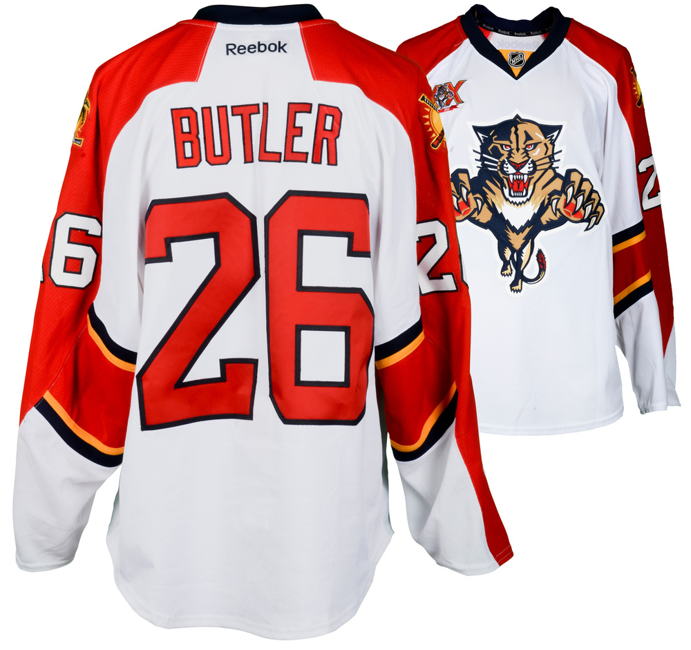 Bobby Butler Florida Panthers Game-Used #26 White Jersey from the 2013-14 NHL Season - Size 56