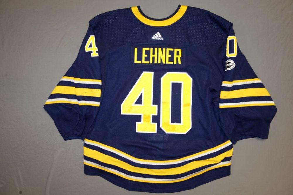 huge selection of f1b85 466a6 Robin Lehner Buffalo Sabres Game-Used 2017-18 Set 1 Home ...