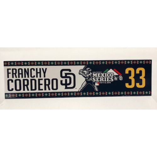 Photo of 2018 Mexico Series - Franchy Cordero Game-Used Locker Tag
