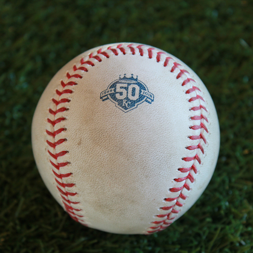 Photo of Game-Used Baseball: Yonder Alonso 812th Career Hit (CLE @ KC - 9/28/18)