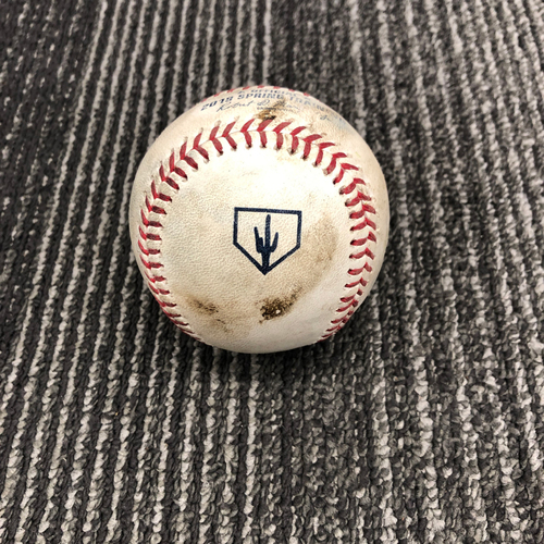 Photo of 2019 Spring Training Game Used Baseball vs. Chicago White Sox - B-1: Manny Banuelos to Mac Williamson - Foul Tip