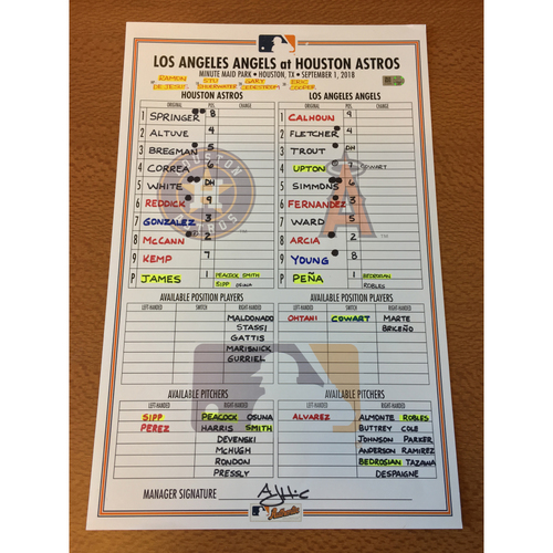 Photo of 2018 Game-Used Lineup Card - 9/1/18 vs LAA