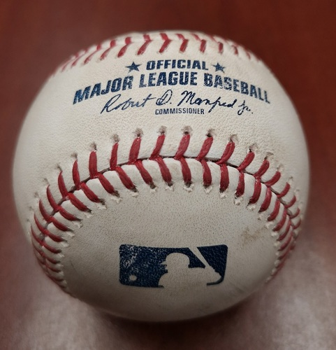 Photo of Authenticated Game Used Baseball - Double by Brandon Drury against Marcus Walden (May 22, 19 vs BOS). Bottom 9