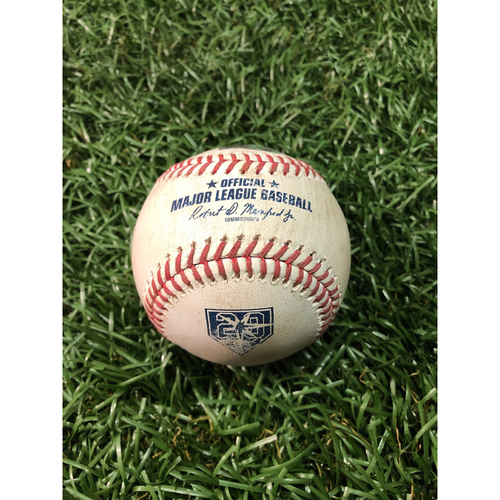 Photo of 20th Anniversary Game Used Baseball: Giancarlo Stanton double off Wilmer Font - June 23, 2018 v NYY