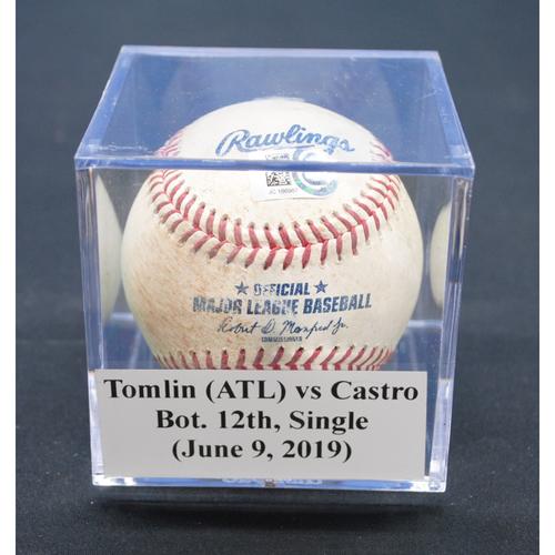 Photo of Game-Used Baseball: Josh Tomlin (ATL) vs Starlin Castro, Bot. 12th, Single - June 9, 2019