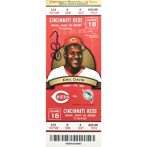 Photo of Eric Davis Signed Ticket