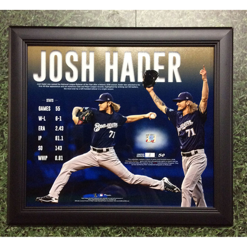 """Photo of Josh Hader 2018 Commemorative """"National League Reliever of the Year"""" Framed Piece with Game-Used Baseball Swatch - Limited Edition #1 / 50"""