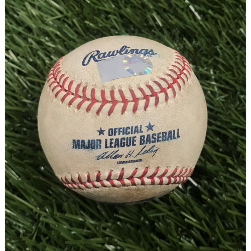 Photo of Game-Used Baseball from June 8, 2010 - Stephen Strasburg Debut - Ivan Rodriguez Foul