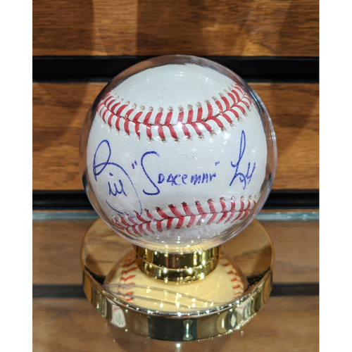 "Photo of Bill ""Space Man"" Lee Autographed Baseball"