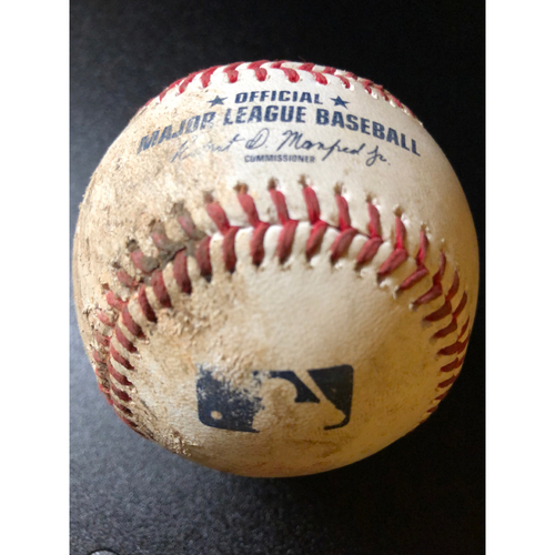 Photo of Game-Used Baseball - 2020 NLCS - Atlanta Braves vs. Los Angeles Dodgers - Game 6 - Pitcher: Walker Buehler, Batters: Nick Markakis (Strike Out, Pitch Speed: 99.7 MPH), Cristian Pache (Foul) - Top 2
