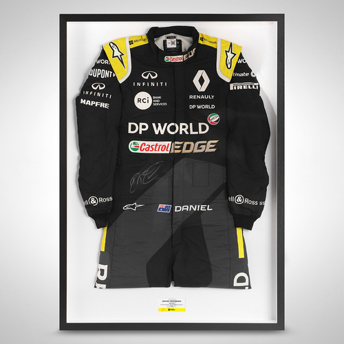 Photo of Daniel Ricciardo 2020 Framed Signed Race Used Race Suit - 70th Anniversary Gr...