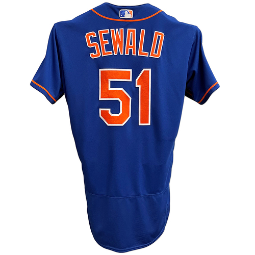 Photo of Paul Sewald #51 - Game Used Blue Alt. Home Jersey with Spring Training Patch - Sewald 1 IP, 0 ER - Mets vs. Astros - 2/24/19