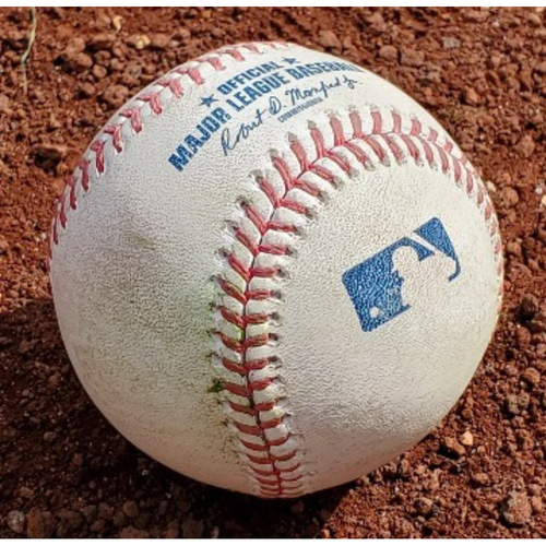 Photo of 2021 Phillies Game-Used Baseball - Aaron Nola Strike Out from First Career Complete Game Shutout - STL at PHI - 4/18/2021