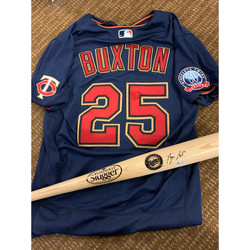 Photo of Byron Buxton Jersey and Autographed Bat