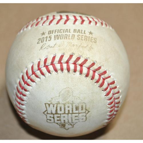 Photo of Game-Used Baseball - 2015 World Series Game 4 - New York Mets vs. Kansas City Royals - Batter: David Wright, Pitcher: Chris Young, Foul, Bot 3