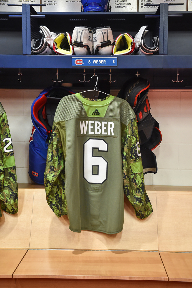 #6 Shea Weber Warm-Up Worn and Autographed Military Jersey