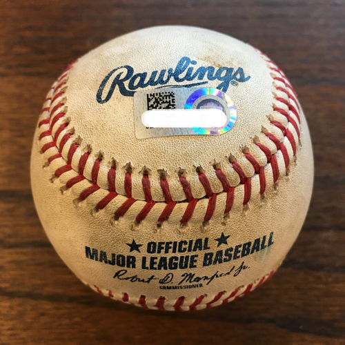 Photo of Game-Used Baseball: Justin Verlander to Didi Gregorius (Pop Out) and Giancarlo Stanton (Strikeout)