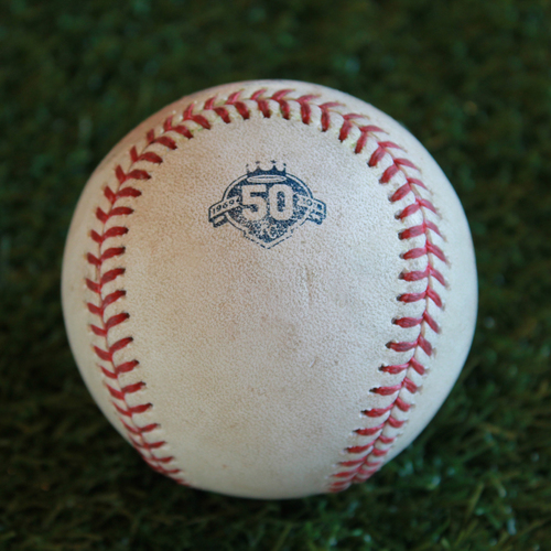 Game-Used Baseball: Chris Gimenez 198th Career Hit and Eddie Rosario 527th Career Hit (MIN @ KC - 9/16/18)