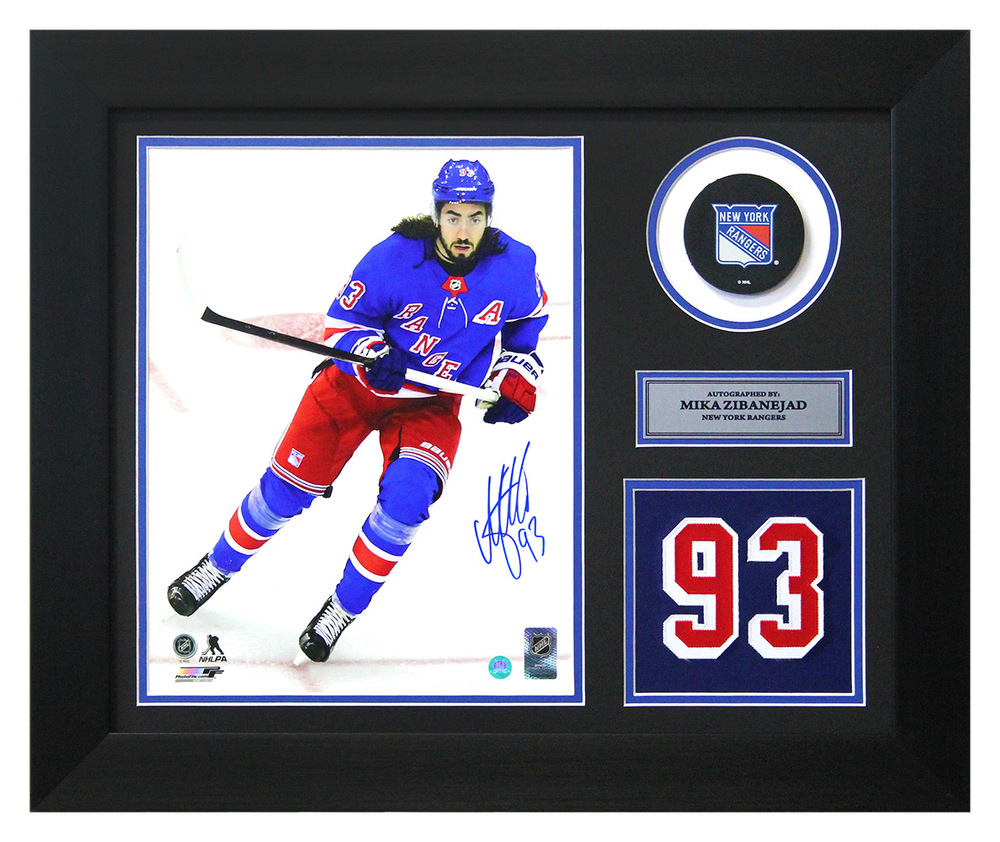 Mika Zibanejad New York Rangers Autographed Franchise Jersey Number 20x24 Frame