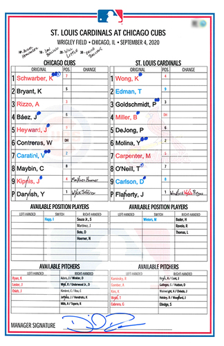Photo of Game-Used Lineup Card -- Darvish 7th Win (7 IP, 1 ER, 11 K), Contreras 5th HR (3 Hits, 4 RBI), Jeffress 5th Save -- Cardinals vs. Cubs -- 9/4/20
