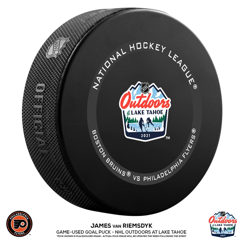 James van Riemsdyk Philadelphia Flyers Game-Used Goal Puck from the NHL Outdoors at Lake Tahoe on February 21, 2021 vs. Boston Bruins