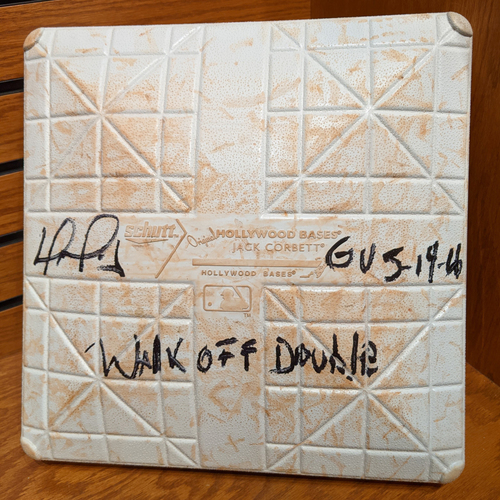 Photo of David Ortiz Autographed 'Walk Off Double' May 14, 2016 Game Used 3rd Base