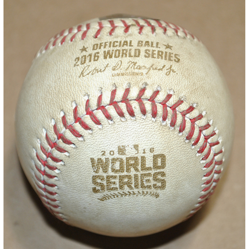 Photo of Game-Used Baseball - 2016 World Series Game 3 - Cleveland Indians vs. Chicago Cubs - Batter: Francisco Lindor, Pitcher: Justin Grimm, Foul, Top 5