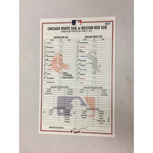 White Sox at Red Sox June 21, 2016 Game-Used Lineup Card