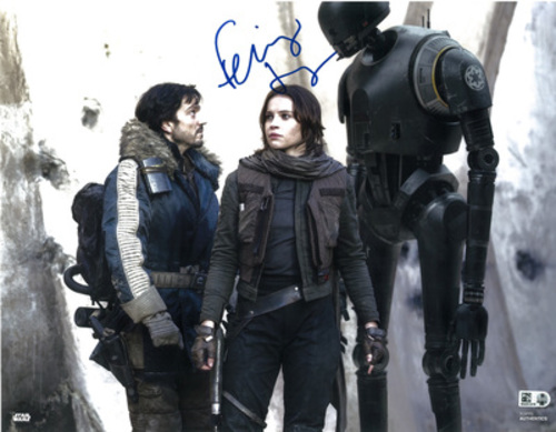 Felicity Jones as Jyn Erso 11x14 Autographed in Blue Ink Photo