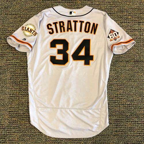 Photo of San Francisco Giants - 2018 Opening Day Game-Used Road Jersey - Worn by #34 Chris Stratton on 3/29/2018 vs. the Los Angeles Dodgers  - Jersey Size 48