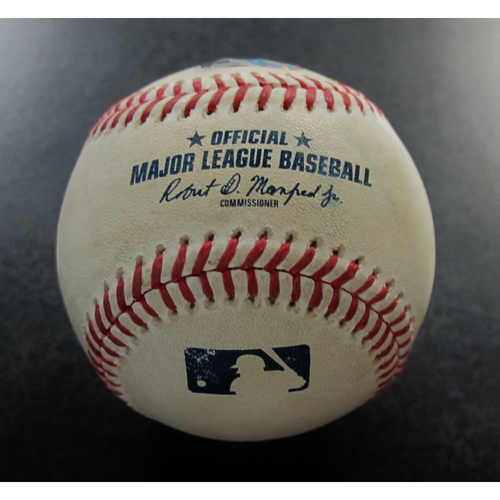 Photo of Game-Used Baseball from the James Paxton No-Hitter Game - Pitcher: Marcus Stroman, Batter: Dee Gordon - Ball - Mariners vs. Blue Jays 5/8/18