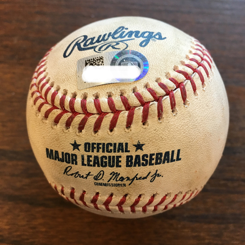 Photo of Game-Used Baseball: Justin Verlander to Didi Gregorius (Single) and Giancarlo Stanton (Strikeout Swinging)