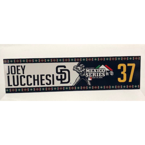Photo of 2018 Mexico Series - Joey Lucchesi Game-Used Locker Tag