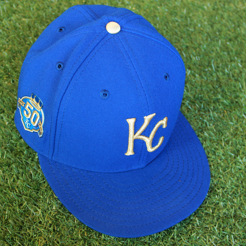 Photo of Game-Used 50 Seasons Cap: Mike Jirschele (Size 7 1/2 - CLE @ KC - 9/28/18)