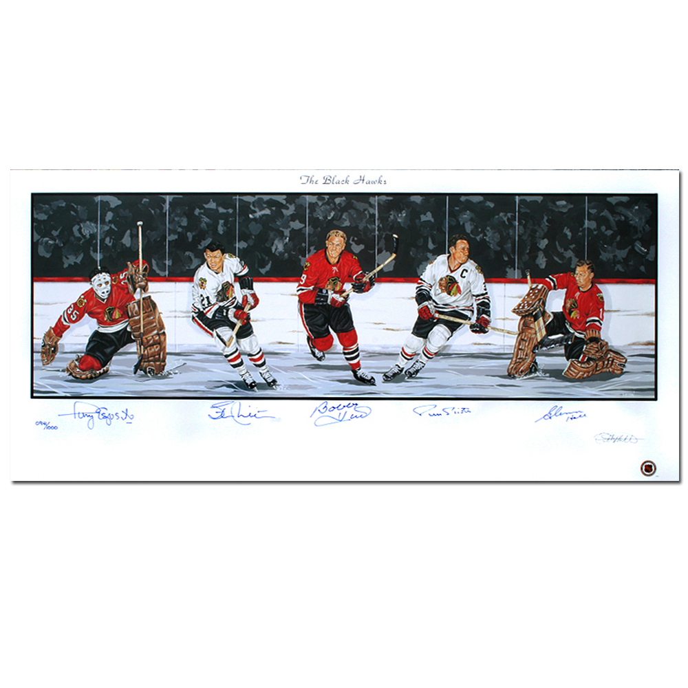CHICAGO BLACKHAWKS Legends autographed Lithograph
