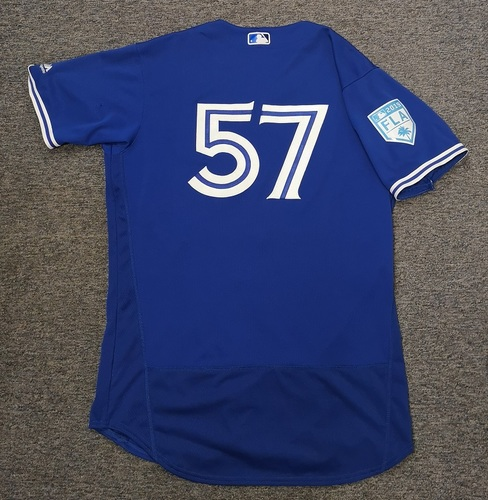 Photo of Authenticated Game Used 2019 Spring Training Jersey - #57 Trent Thornton (Mar 18: 2 IP, 0 ER, 3 Ks). Size 46