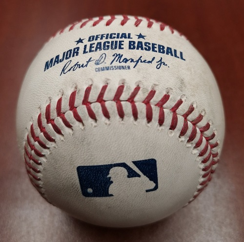 Photo of Authenticated Game Used Baseball - RBI Single by Danny Jansen against Marcus Walden (May 22, 19 vs BOS). Bottom 9. Game-tying Hit.