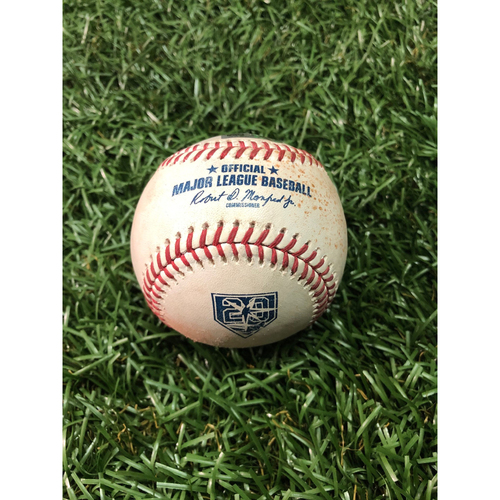 Photo of 20th Anniversary Game Used Baseball: Francisco Lindor double off Andrew Kittredge - September 10, 2018 v SEA