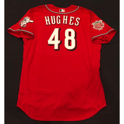 "Photo of Jared Hughes -- Team-Issued ""Los Rojos"" Jersey -- D-backs vs. Reds on 9/6/19 -- Jersey Size 52"